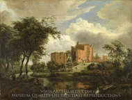 The Ruins of Brederode Castle painting reproduction, Meindert Hobbema