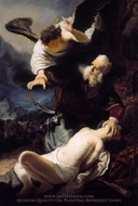 The Sacrifice of Isaac painting reproduction, Rembrandt Van Rijn