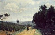 The Severes Hills (Le Chemin Troyon) painting reproduction, Jean-Baptiste Camille Corot