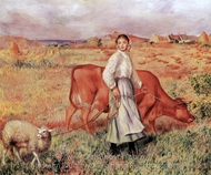 The Shepherdess, the Cow and the Ewe painting reproduction, Pierre-Auguste Renoir