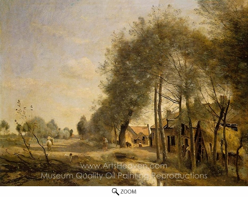 Jean-Baptiste Camille Corot, The Sin-le-Noble Road Near Douai oil painting reproduction