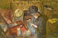 The Small Drawing-Room: Mme Hessel at Her Sewing Table painting reproduction, Édouard Vuillard