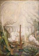The Sun Breaking Thru Mist painting reproduction, Diego Rivera