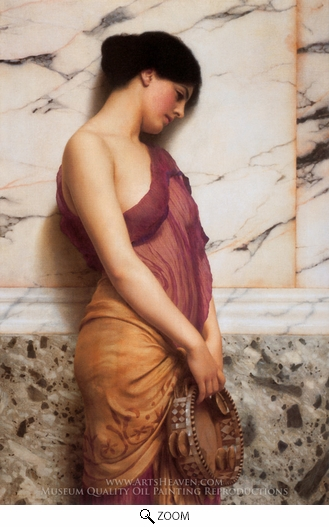 John William Godward, The Tambourine Girl oil painting reproduction