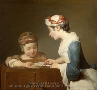 The Teacher painting reproduction, Jean Simeon Chardin