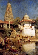The Temple and Tank of Walkeshwar at Bombay painting reproduction, Edwin Lord Weeks
