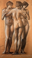 The Three Graces painting reproduction, Edward Burne-Jones