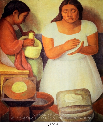 Diego Rivera, The Tortilla Maker oil painting reproduction