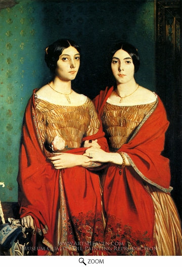Theodore Chasseriau, The Two Sisters oil painting reproduction