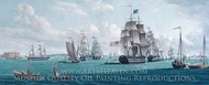 The U. S. Ship Franklin, with a View of the Bay of New York painting reproduction, Thomas Thompson