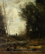 The Valley painting reproduction, Jean-Baptiste Camille Corot