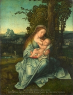 The Virgin and Child in a Landscape painting reproduction, Bernaert Van Orley
