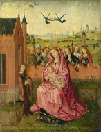 The Virgin and Child with Saints and Donor painting reproduction, Lieven Van Lathem