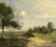 The Wagon (Souvenir of Saintry) painting reproduction, Jean-Baptiste Camille Corot