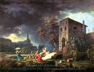 The Washerwomen painting reproduction, Claude-Joseph Vernet
