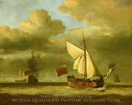 The Yacht Royal Escape Close-Hauled in a Breeze painting reproduction, Willem Van De Velde