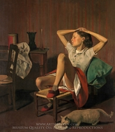 Therese Dreaming painting reproduction, Balthus