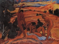 Three Nudes in a Landscape painting reproduction, Max Pechstein