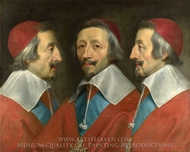 Triple Portrait of the Head of Richelieu painting reproduction, Philippe De Champaigne