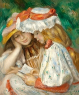 Two Girls Reading painting reproduction, Pierre-Auguste Renoir