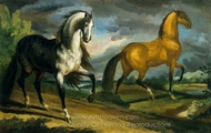 Two Horses painting reproduction, Theodore Gericault