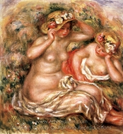 Two Nudes Wearing Hats painting reproduction, Pierre-Auguste Renoir