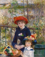 Two Sisters on the Terrace painting reproduction, Pierre-Auguste Renoir