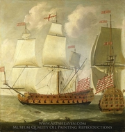 Two Views of an East Indiaman of the Time of King William III painting reproduction, Isaac Sailmaker