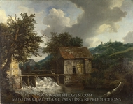 Two Watermills and an Open Sluice at Singraven painting reproduction, Jacob Van Ruisdael