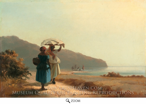 Camille Pissarro, Two Women Chatting by the Sea, St. Thomas oil painting reproduction