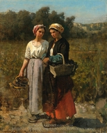 Two Young Woman Picking Grapes painting reproduction, Jules Breton
