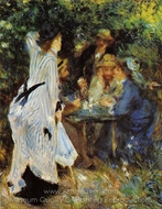 Under the Arbor at the Moulin de la Galette painting reproduction, Pierre-Auguste Renoir