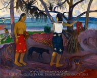 Under the Pandanus II painting reproduction, Paul Gauguin