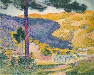 Valley with Fir (Shade on the Mountain) painting reproduction, Henri Edmond Cross