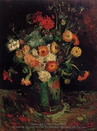 Vase with Zinnias and Geraniums painting reproduction, Vincent Van Gogh
