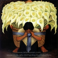 Vendedora de Flores painting reproduction, Diego Rivera