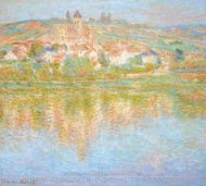 Vetheuil, at Sunset painting reproduction, Claude Monet