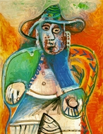 Vieil Homme Assis, Mougins painting reproduction, Pablo Picasso (inspired by)
