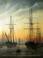 View of a Harbour painting reproduction, Caspar David Friedrich