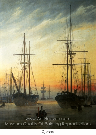 Caspar David Friedrich, View of a Harbour oil painting reproduction