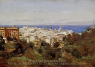 View of Genoa from the Promenade of Acqua Sola painting reproduction, Jean-Baptiste Camille Corot