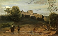 View of Genzano with a Rider and Peasant painting reproduction, Jean-Baptiste Camille Corot
