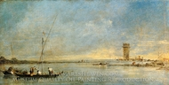 View of the Venetian Lagoon with the Tower of Malghera painting reproduction, Francesco Guardi