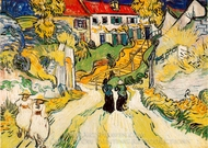 Village Street and Steps in Auvers with Figures painting reproduction, Vincent Van Gogh