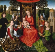 Virgin and Child with Saints Catherine of Alexandria and Barbara painting reproduction, Hans Memling