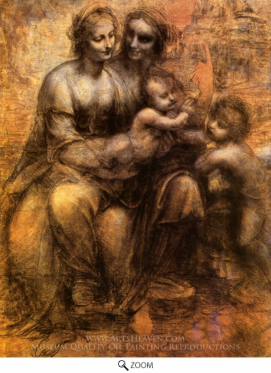 Leonardo Da Vinci, Virgin and Child with St. Anne and St. John the Baptist oil painting reproduction