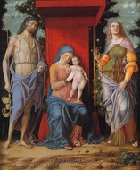 Virgin and Child with the Magdalen and St. John the Baptist painting reproduction, Andrea Mantegna
