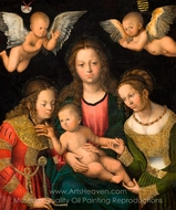 Virgin and Child with the Saints Catherine and Barbara painting reproduction, Lucas Cranach