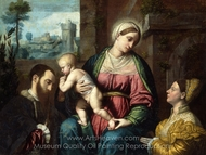 Virgin and Child, with Two Donors painting reproduction, Moretto Da Brescia