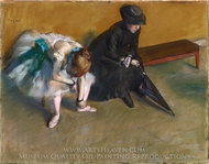 Waiting painting reproduction, Edgar Degas